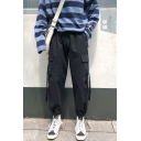Men's Simple Fashion Solid Color Flap Pocket Side Ribbon Embellished Drawstring Cuffs Casual Cotton Cargo Pants