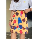 Summer Girls Graffiti Print Mini A-Line Skirt For Women