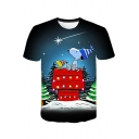 Funny Cartoon Christmas Snoopy 3D Printed Round Neck Short Sleeve Fitted Tee
