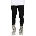 Men's Trendy Splashing Ink Printed Stretched Slim Fit Zip Cuffs Fashion Jeans
