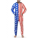 Mens New Stylish Stripes Stars Flag Printed Long Sleeve Hooded Zip Up One Piece Blue and Red Sleepwear Lounge Jumpsuits