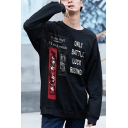 Guys Hip Hop Fashion Stylish Letter Patched ONLY BATTLE LUCK RISING Round Neck Long Sleeve Loose Fit Sweatshirt