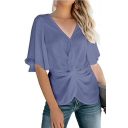 Womens Fancy Plain Flutter Sleeve V-Neck Twist Front Loose Fit Chiffon Blouse Top