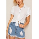 Womens Summer Fashion Plain White Flutter Short Sleeve Button Down Chiffon Shirt