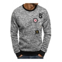 Mens Cool Simple Letter Skull Logo Patched Heather Color Long Sleeve Pullover Fitted Sweatshirt