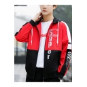 Guys Cool Simple Letter SUPER Print Color Block Long Sleeve Casual Loose Zip Up Hooded Jacket Coat