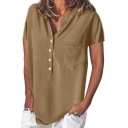 Womens Fancy Plain One Pocket Stand Collar Short Sleeve Loose Fit Blouse Shirt