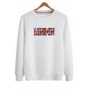 Fashion Flag Letter LONDON Print Crewneck Long Sleeve Cotton Fitted Sweatshirt