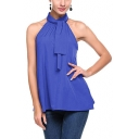 Womens Trendy Plain Chic Tied Halter Neck Sleeveless Tank Blouse Top