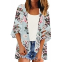 Womens Summer Popular Floral Pattern Mesh-Panel Sleeve Beach Kimono Blouse