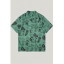 Fashion Green Tropical Coconut Pineapple Print Short Sleeve Casual Hawaiian Shirt
