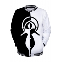 Mens Unique Cool Black and White Comic Figure Print Stand Collar Long Sleeve Baseball Jacket