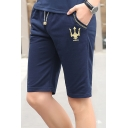Men's Summer New Fashion Crown Embroidery Pattern Drawstring Waist Casual Sports Sweat Shorts