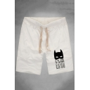 Men's Summer Hot Fashion Letter Bat Printed Drawstring Waist Relaxed Cotton Sweat Shorts