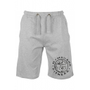 Men's Summer Stylish Letter Cartoon Animal Printed Drawstring Waist Relaxed Cotton Sweat Shorts