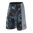 Men's Hot Fashion Popular Printed Elastic Waist Loose Fit Basketball Shorts