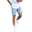 Men's Summer Popular Fashion Frayed Ripped Detail Rolled Cuffs Simple Plain Light Blue Denim Shorts