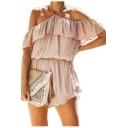 Summer Stylish Girls Backless Cold Shoulder Solid Color Ruffled Romper