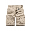Men's Summer Trendy Simple Solid Color Multi-pocket Casual Cotton Cargo Shorts