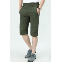 Men's Summer Fashion Simple Plain Zipped Pocket Quick-drying Casual Thin Assault Shorts Chino Shorts