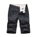 Men's Summer Hot Fashion Plaid Pattern Slim Fit Casual Cotton Chino Shorts