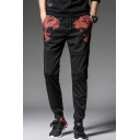 Men's Cool Fashion Tiger Skull Printed Mesh Patched Drawstring Waist Casual Sweatpants