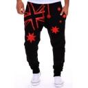 Men's Hot Fashion Stars Printed Drawstring Waist Casual Loose Sweatpants