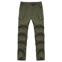 Men's Simple Fashion Solid Color Flap Pocket Elastic Waist Outdoor Tactical Military Cargo Pants