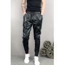Men's New Fashion Simple Plain Drawstring Waist Black Plush Leather Pants