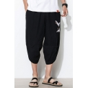 Men's Chinese Style Fashion Crane Embroidery Pattern Black Linen Cropped Wide Leg Pants