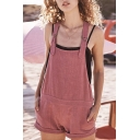 Sweet Girls Hot Sale Simple Plain Button Side Pocket Casual Overall Shorts