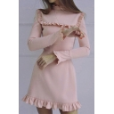 Womens Unique Fashion Simple Plain Chic Ruffled Hem Long Sleeve Mini A-Line Dress