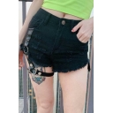 Girls Summer Cool Punk Style Fringed Hem Hollow Out Black Ripped Hot Pants Shorts
