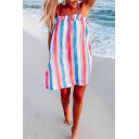 Summer Fancy Rainbow Striped Print Ruffled Hem Sleeveless Mini Beach Strap Dress
