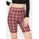 Popular Red Check Printed Womens Slim Fit Half Cycling Shorts