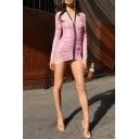 Womens Summer Hot Popular Pink Plain Zipper Plunging Neck Long Sleeve Ruched Mini Bodycon Dress