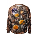 Hot Popular Halloween Pumpkin 3D Print Round Neck Long Sleeve Khaki Sweatshirt