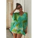 Summer Women's Hot Stylish V-Neck Floral Printed Tie Dye Drawstring Waist Batwing Sleeves Boho Leisure Romper