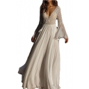 Womens Holiday Boho Style Lace-Up Deep V Neck Flared Long Sleeve White Maxi Chiffon Dress