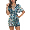 Womens Hot Stylish Boho Floral Printed Plunge V-Neck Tie Waist Short Sleeve Casual Rompers