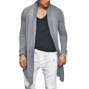 Mens Simple Plain Long Sleeve Open Front Slim Fitted Longline Cardigan Coat