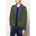 Mens Classic Trendy Army Green Solid Color Long Sleeve Hooded Zip Up Jacket Coat