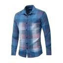 Mens Classic Check Print Long Sleeve Blue Cotton Button Shirt