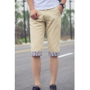 Men's Summer Fashion Stripe Printed Roll Cuffs Casual Cotton Chino Shorts