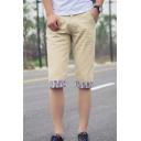Men's Summer Fashion Stripe Printed Roll Cuffs Casual Cotton Chino Shorts