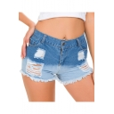 Trendy Ombre Color Distressed Ripped Frayed Hem High Rise Club Denim Shorts