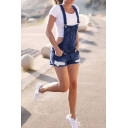 Womens Summer New Fashion Ripped Slim Fit Overall Denim Shorts