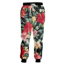 New Fashion Colored Floral Printed Drawstring Waist Red Casual Joggers Sweatpants