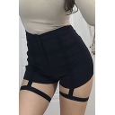 Womens Sexy Hollow Out Tape Patched Black Skinny Fitted Dance Shorts