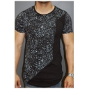 Men's Unique Patchwork Basic Round Neck Short Sleeve Fitted T-Shirt